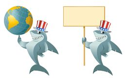 Funny shark in the patriotic hat holding a globe and a blank ban Stock Photos