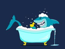 Funny shark takes a bath with a duck toy stock illustration