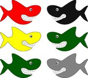 Funny sharks in different colors. An illustration of six funny comic sharks in different colors Royalty Free Illustration