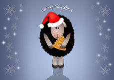Funny sheep with biscuit for Christmas Stock Photography