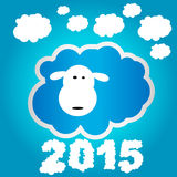 Funny sheep 2015. Funny sheep on blue background and Happy new year 2015. Chinese symbol vector goat 2015 year illustration image design Stock Image