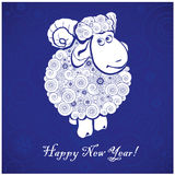 Funny sheep on blue background. And Happy new year 2015. Chinese symbol vector goat 2015 year illustration image design. Greeting card stock illustration