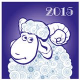 Funny sheep on blue background. Merry Christmas and Happy new year. Chinese symbol vector goat 2015 year illustration image design. Greeting card vector illustration