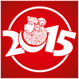 Funny sheep on bright red background. And Happy new year 2015. Chinese symbol vector goat 2015 year illustration image design Royalty Free Stock Photo