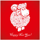 Funny sheep on bright red background 1. Funny sheep on bright red background and Happy new year 2015. Chinese symbol vector goat 2015 year illustration image Royalty Free Stock Photography