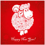 Funny sheep on bright red background 2. Funny sheep on bright red background and Happy new year 2015. Chinese symbol vector goat 2015 year illustration image Royalty Free Stock Photography