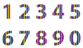Funny sheep. Colored abstract numbers from one to ten stock illustration
