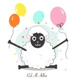 Funny sheep with colorful balloon greeting card. Islamic festival of sacrifice. Eid al adha celebration. Background Royalty Free Stock Photo