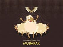 Funny Sheep for Eid-Al-Adha Mubarak. Cute funny Sheep with Cleaver Knife on vintage background for Muslim Community, Festival of Sacrifice, Eid-Al-Adha Mubarak Stock Image