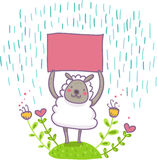 Funny sheep with empty signal illustration. An happy sheep with an empty signal under the rain Stock Images