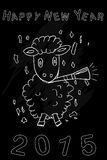 Funny sheep enjoy new year 2015. At chalk board Stock Photo