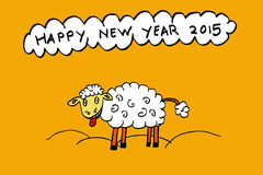 Funny sheep enjoy new year 2015. At chalk board Stock Photos