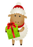 Funny sheep with gift box Royalty Free Stock Images