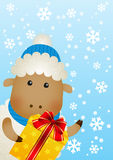 Funny sheep with gift box Stock Image