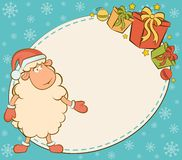 funny sheep with gifts. Royalty Free Stock Photography