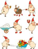 Funny sheep with gifts. stock illustration