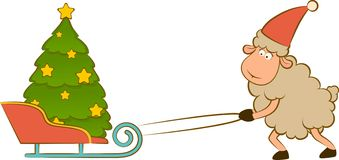 Funny sheep heaves up sledges with fir-tree. Cartoon funny sheep heaves up sledges with fir-tree Stock Photos