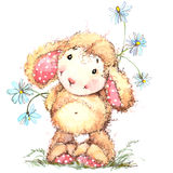 Funny sheep. Kid background for greetings cards. watercolor illustration vector illustration