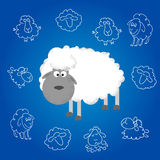 Funny sheep new year. Funny sheep on blue background and Happy new year 2015. Chinese symbol vector goat 2015 year illustration image design Stock Photo