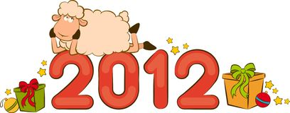 Funny sheep and numbers 2012 year. Cartoon funny sheep and numbers 2012 year royalty free illustration