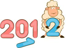 Funny sheep and numbers 2012 year. Cartoon funny sheep and numbers 2012 year Stock Photo