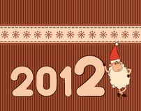 Funny sheep and numbers 2012 year. Cartoon funny sheep and numbers 2012 year Royalty Free Stock Images