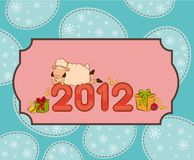 Funny sheep and numbers 2012 year. Cartoon funny sheep and numbers 2012 year Stock Photography