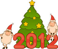 Funny sheep and numbers 2012 year. Cartoon funny sheep and numbers 2012 year Royalty Free Stock Photo