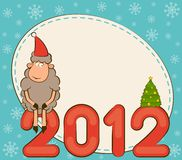 Funny sheep and numbers 2012 year. Cartoon funny sheep and numbers 2012 year Royalty Free Stock Photos