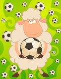 funny sheep play in football Stock Photography
