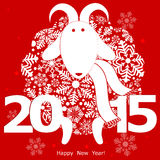 Funny sheep on red background and Happy new year. Chinese symbol Royalty Free Stock Photo