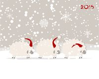 Funny sheep santa, symbol of new year 2015. Vector illustration Stock Photography
