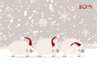 Funny sheep santa, symbol of new year 2015 Stock Photography