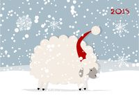 Funny sheep santa, symbol of new year 2015. Vector illustration Stock Image