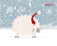 Funny sheep santa, symbol of new year 2015 Stock Image