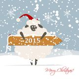 Funny sheep santa, symbol of new year 2015. Vector illustration Royalty Free Stock Images