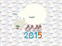 Funny sheep on seamless sheep pattern Happy new year 2015 :  illustration. Royalty Free Stock Photography
