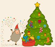 Funny sheep and sledges, fir-tree and gifts. Cartoon funny sheep and sledges, fir-tree and gifts Stock Images