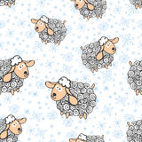 Funny sheep with snowflakes.Seamless pattern Royalty Free Stock Images