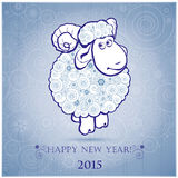 Funny sheep on white background of Snowflakes 2. Funny sheep on white background of Snowflakes. Merry Christmas and Happy new year. Greeting card. Chinese symbol Royalty Free Stock Photos