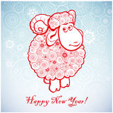 Funny sheep on white background of Snowflakes. Funny sheep on white background of Snowflakes. Merry Christmas and Happy new year. Greeting card. Chinese symbol Stock Images