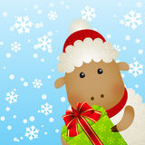 Funny sheep on winter Royalty Free Stock Photos