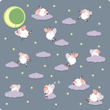 Funny sheeps. Counting sheeps for sweet dreams Royalty Free Stock Photos