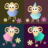 Funny sheeps cartoon collection Royalty Free Stock Images