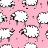 Funny sheeps on meadow, seamless pattern for your Royalty Free Stock Photo