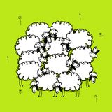Funny sheeps on meadow, sketch for your design Royalty Free Stock Photos