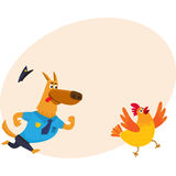 Funny shepherd dog character in blue police uniform chasing chicken Stock Photos