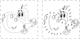 Funny ship drawing with dots and digits Stock Images