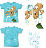 Funny  shirt with a bottle of wine design - vector Royalty Free Stock Photo