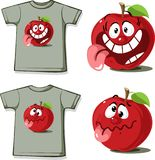 Funny Shirt with cute apple cartoon character - vector illustration Royalty Free Stock Images